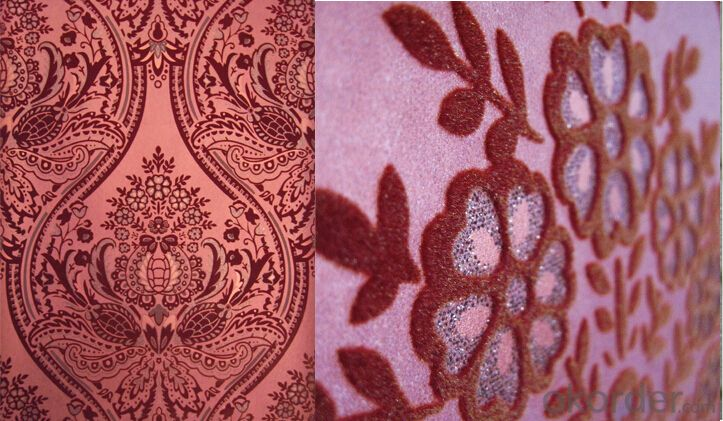 Nonwoven Wallpaper  Velvet flocking Wallpaper   New design Damask Wallpaper