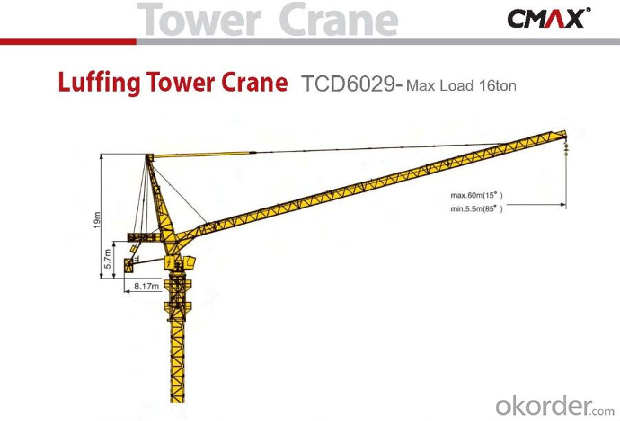 TCD6029 16T Folding Luffing Crane for Sale