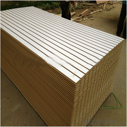 Solid Color Melamine Grooved MDF for Indoor Usage