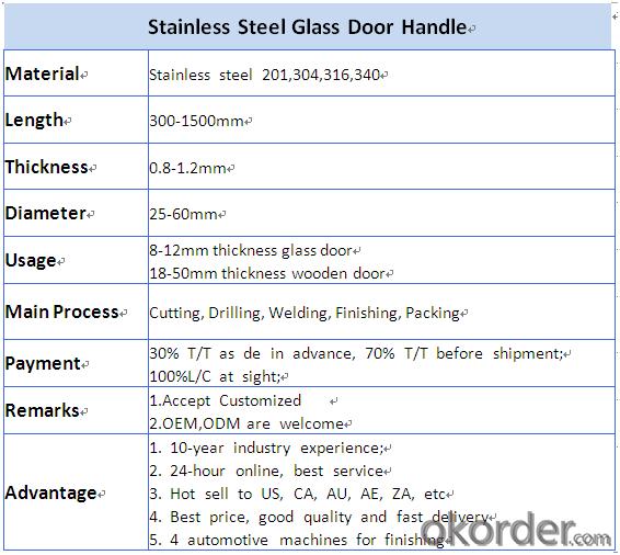 Stainless Steel Handle for Glass Door Handle/Wooden Door Handle DH106