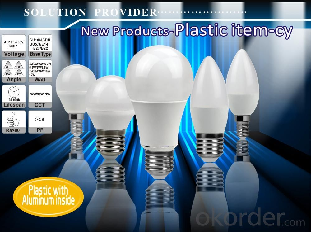 LED Candle Light E27 /E14 3000k-4000K-5000K-6500k B45 6W CRI 80  500 Lumen Non Dimmable