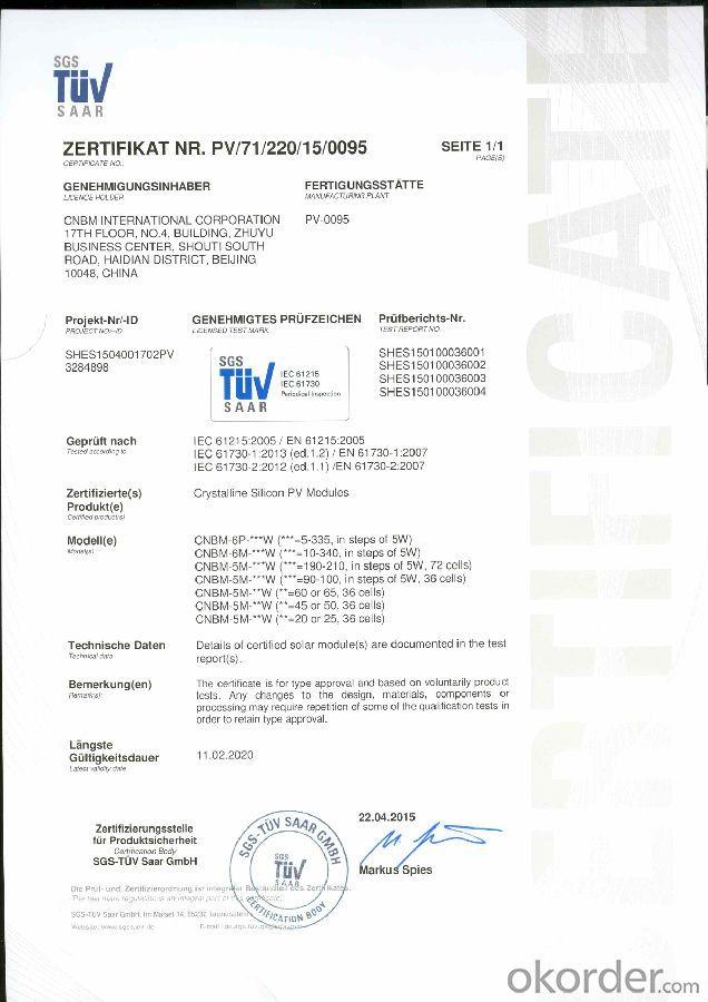 Solar  Polycrystalline  Panels Max Power 280-W