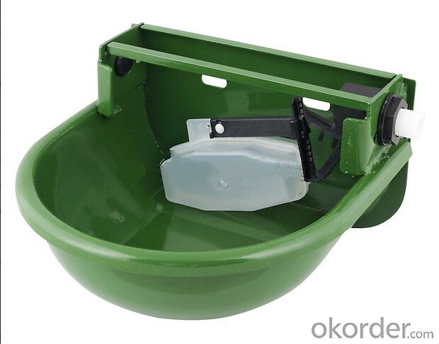2.5 L Drawing Water Bowl with Self-Filled Float for Cattle or Horses with Green Powder Coated
