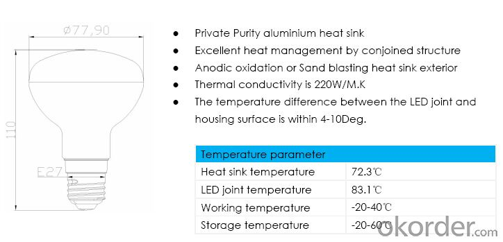 PAL Series R80 9W LED Bulb for Interior Lighting