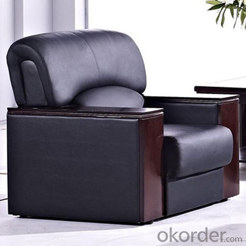 Office Furniture Commercial Sofa with Black Leather