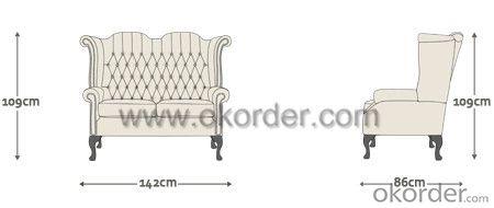 Scroll Sofa with Polished Hardwood Frame