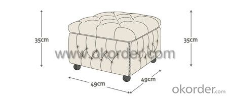 Buttoned Pouffe Box with Square Shape and Leather Cover
