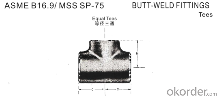 Steel Pipe Fittings Butt-Welding Equal Tees