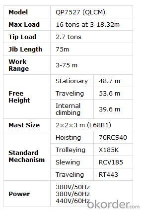16 TON FLAT-TOP TOWER CRANE QP7527 TCP7527