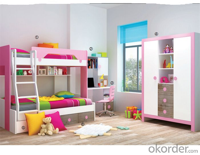 Child Bedroom Bunk Bed of Colorful Design