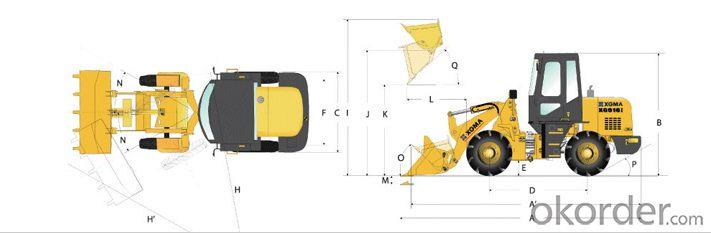 XGMA Brand Wheel Loader 1Ton Loading Capacitiry X916I