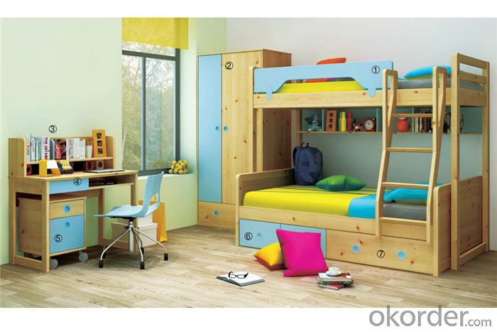 Children Colorful Bunk Bed with MDF Board