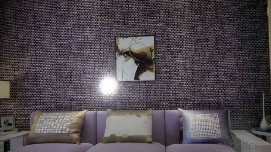Wallpaper Woven PVC Decorative Vinyl Wallpaper for Hotel / Home