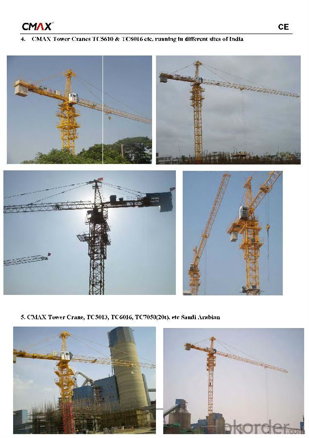 TC5516 8T Tower Crane for Sale with CE ISO Certificate