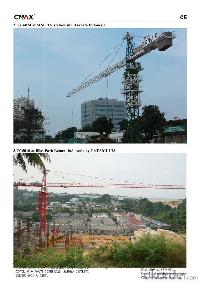 TC5610 6T Rail Mounted Tower Crane with CE ISO Certificate
