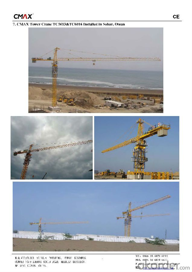 TC5610 6T Construction Machinery Tower Crane Price with Specification