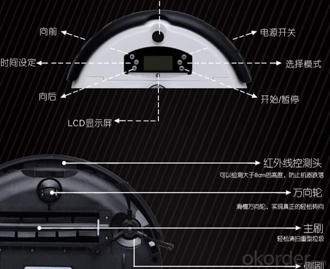2015 black color 500w remote control 6 In 1 Multifunctional Robot Vacuum Cleaner