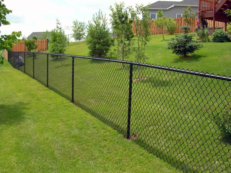 With Barbed Razor Wire  Chain Link Fence
