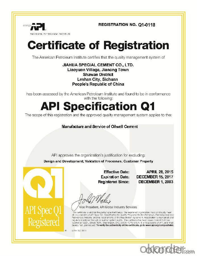 Class A Oil Well Cement with API Certification