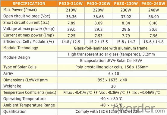 220W poly Solar Photovoltaic Panel  HIGH EFFICIENCY HIGH OUTPUT