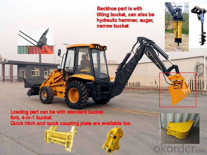 XD850 Integral Backhoe Loader Cummins Engine Capacity 1m3 Backhoe Bucket Capacity 0.2-0.3m3