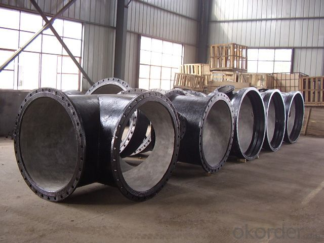 Ductile Cast Iron Pipe Fittings All Flanged Tee B125 Bitumen Coating