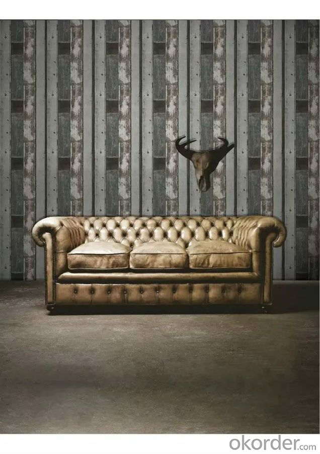 PVC Wallpaper Vinyl Covered Fashion Soundproof Waterproof for Living Room