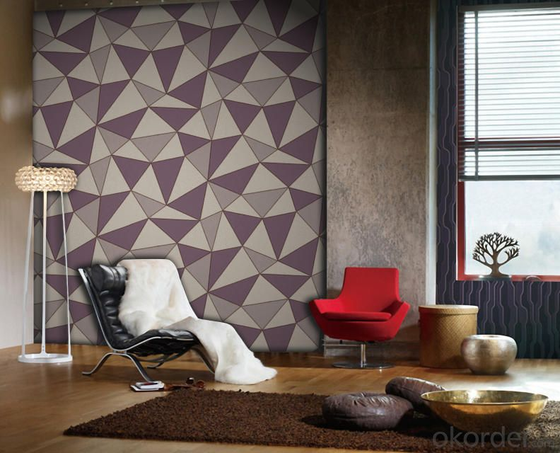 PVC Wallpaper Vinyl Covered Modern Design PVC Deep Embossed Wallpaper for Europe