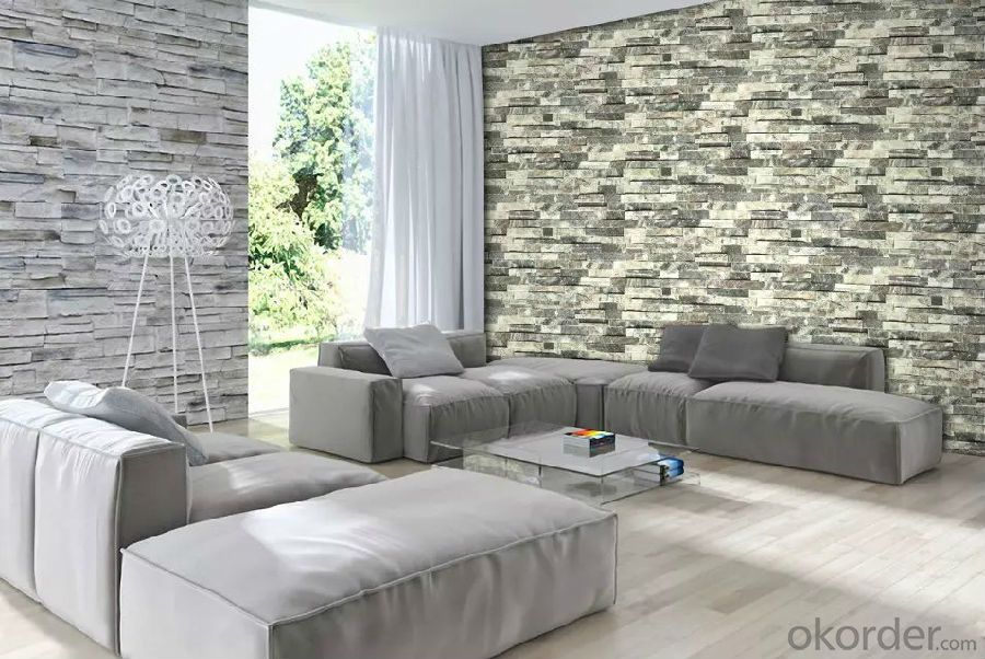 PVC Wallpaper Vinyl Covered Modern Design Thick with Deep Pattern