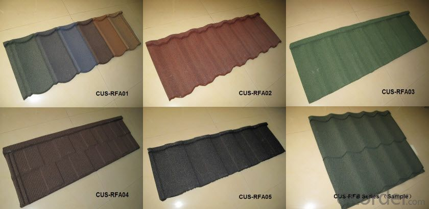 Al-Zn Colorful Stone Coated Steel Roofing Tile