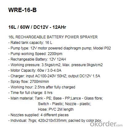 Battery Sprayer   WRE-16-B