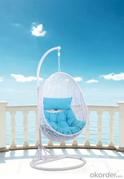 Hanging Chair Swing White Green Metal/ Rattan