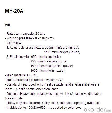 Knapsack Sprayer   MH-20A