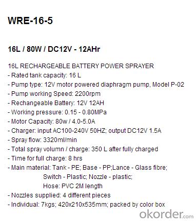 Battery Sprayer   WRE-16-5