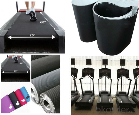 Black PVC Treadmill Conveyor Belt Running Belt for Fitness Gym