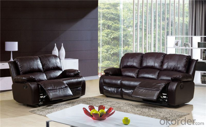 Manually Recliner Sofa with Leather and PVC