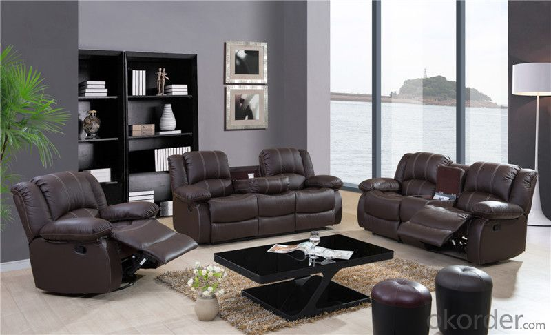 Genuine Leather Recliner Sofa of Modern Style