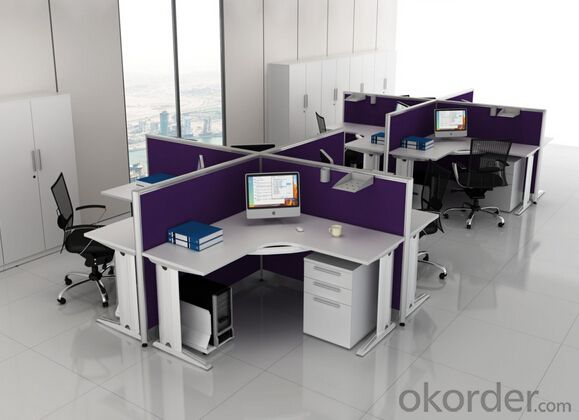 Four-Person L-Desk Workstation Set Montage