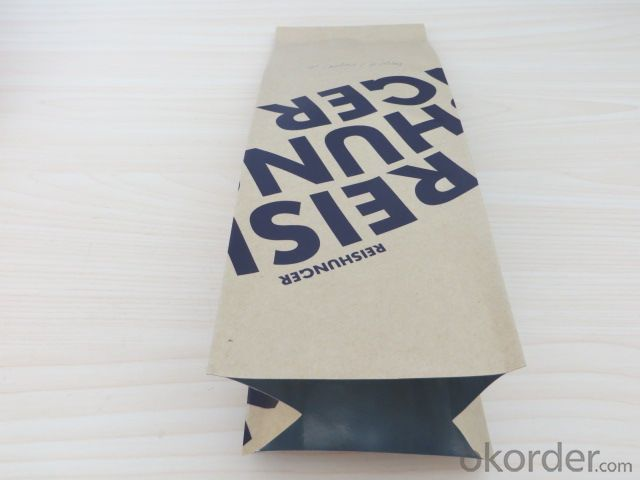 Food Grade Craft Paper Laminated Bag with Tear Nortch for Packing