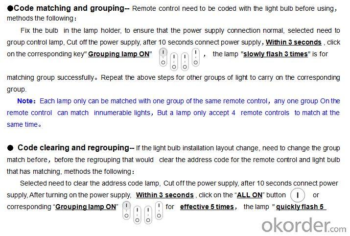 LED bulb remote contro 2.4G Grouping LED color temperature remote control