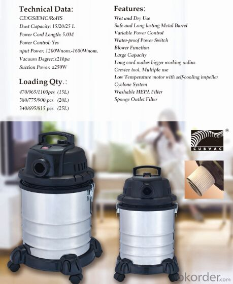 Wet Dry Vacuum Cleaner Industrial Car Drum Vacuum Cleaner