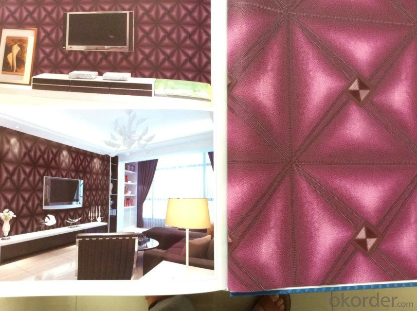PVC Wallpaper Glamour Flower Shape Pink Background Decor Wallpapers