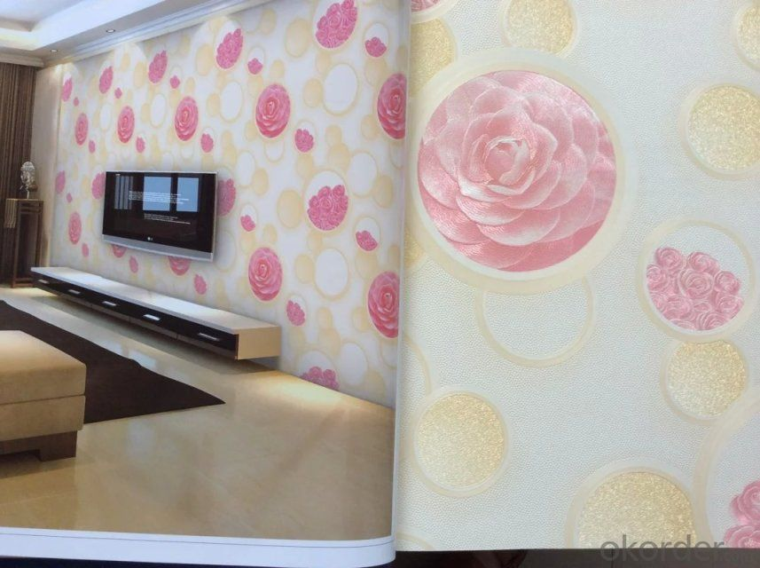 PVC Wallpaper Modern Design Empaistic Effect Wallpaper for Public Place Construction