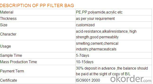 Non woven Fiberglass dust filter bag