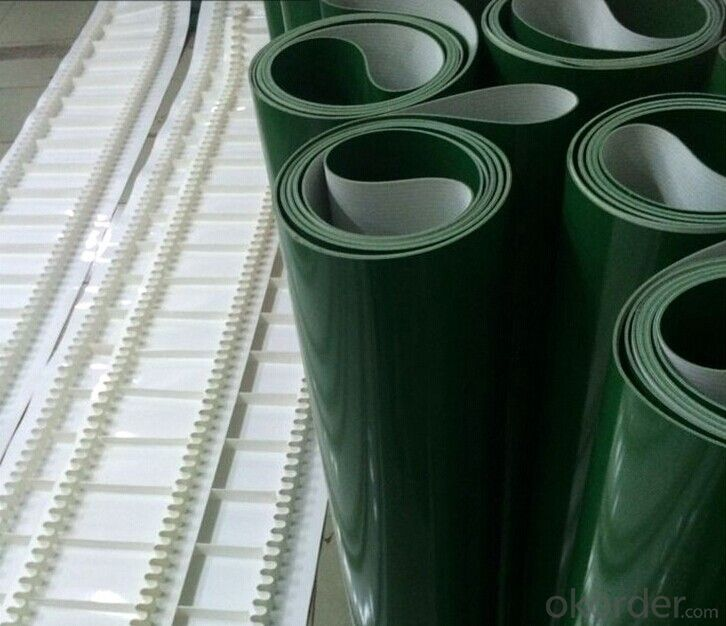 Green PVC Conveyor Belt White PU Conveyor Belt In Food Industry