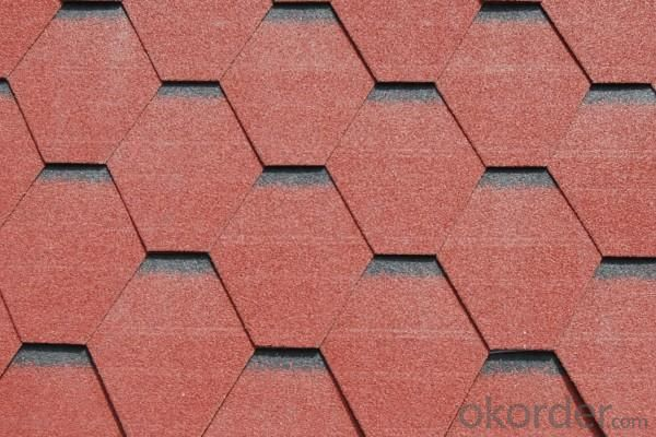 Red Waterproof Asphalt Wave Shingles Roofing Tiles