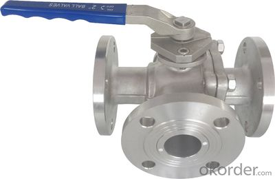 API6D stainless steel three way trunnion ball valve