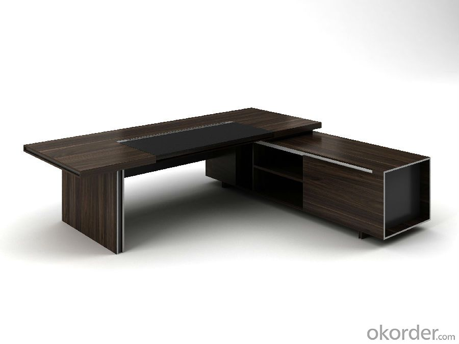 Wood Office Desk Black Color Classic Design