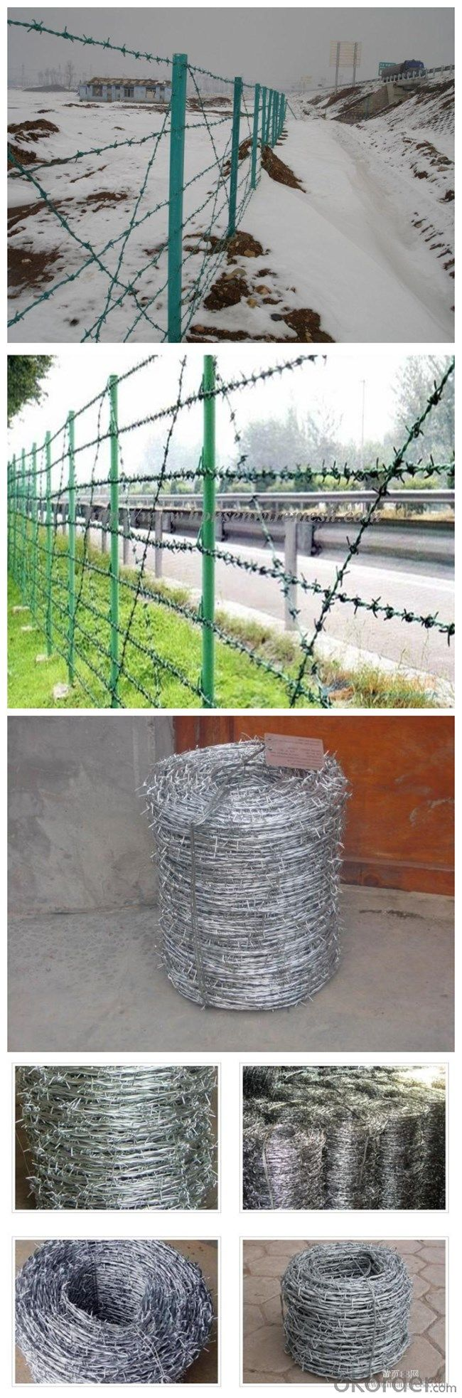 High Tensile Galvanized PVC Coated Barbed Iron Wire for Security