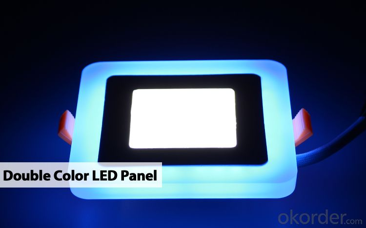 LED PANEL LIGHT DOUBLE COLOR SQUARE SHAPE 6 AND 3W  RECESSED TYPE BLUE AND 6000K